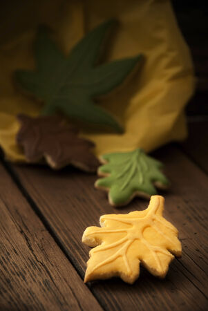 bickie: Fall Cookie Leaves on a Wooden Background Stock Photo