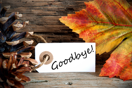 An Autumn Label with the Word Goodbye on it, Fall Background photo