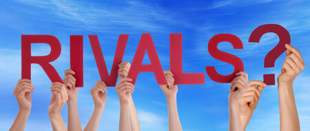 rivals: Many People Holding the Red Word Rivals in the Sky