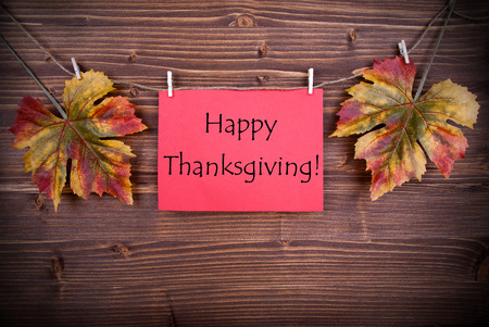 caes: Etiqueta roja con las palabras Feliz Acci�n de Gracias y las hojas que cuelgan en una l�nea Foto de archivo