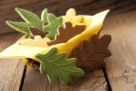bickie: Autumnal Cookies in different Fall Colors in a small Cup on Wooden Planks Stock Photo