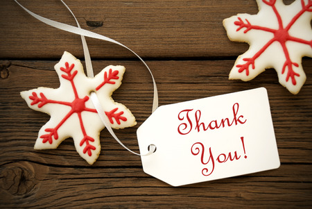 Red White Christmas Star Cookies with Thank You Label, Christmas or Winter Background