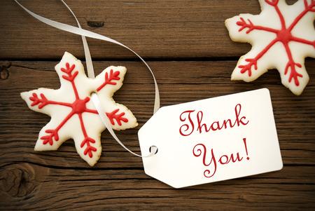 Red White Christmas Stern-Plätzchen mit Danke Etikett, Weihnachten oder Winter Background