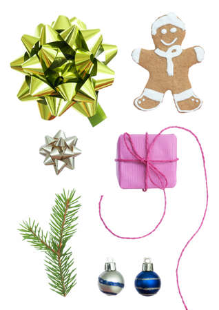 verticals: Christmas Set On A White Background With Gingerbread Man, Fir Tree Branch, Ribbon, Ribbons, Christmas Balls And A Pink Gift