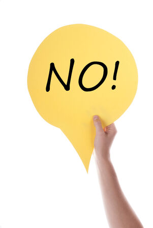 verticals: Hand Holding A Yellow Speech Balloon Or Speech Bubble With No. Isolated Photo.
