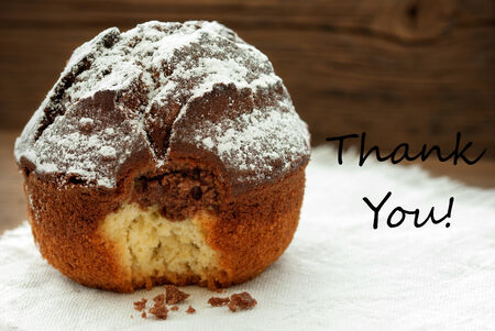 peccadillo: Homemade And Baked Chocolate Cake On Wooden Background With Thank You
