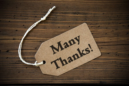 many thanks: Close Up Of A Brown Label With White Ribbon On Wooden Background With English Text Many Thanks Frame And Vintage Or Retro Style
