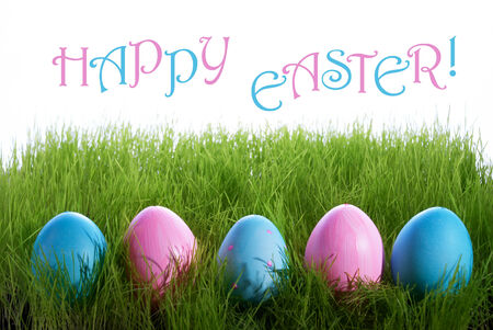 english text: Pink And Blue Easter Eggs On Green Grass With English Text Happy Easter For Seasons Greetings