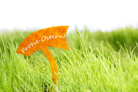 Ostern: Label With German Text Frohe Ostern Which Means Happy Easter On Sunny Green Grass For Spring Or Summer Feeling And For Seasons Greetings Or Easter Greetings Stock Photo