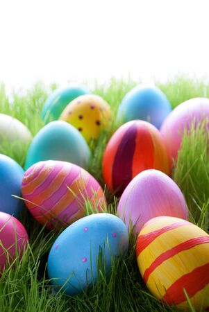 easter and egg: Many Colorful Easter Eggs On Sunny Green Gras For Easter Or Seasons Greetings Eggs In Different Colors