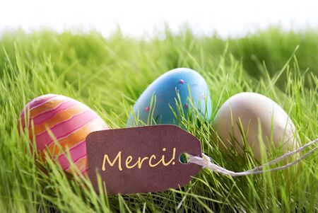 thankfulness: Colorful Easter Background With Three Easter Eggs And Label With French Text Merci On Green Grass For Happy Easter Seasons Greetings Stock Photo
