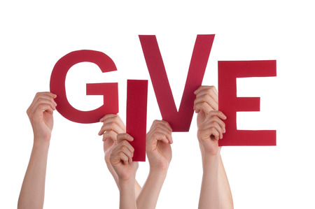 giving money: Many Caucasian People And Hands Holding Red Letters Or Characters Building The Isolated English Word Give On White Background Stock Photo