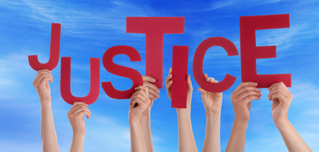 fair trial: Many Caucasian People And Hands Holding Red Letters Or Characters Building The English Word Justice On Blue Sky Stock Photo