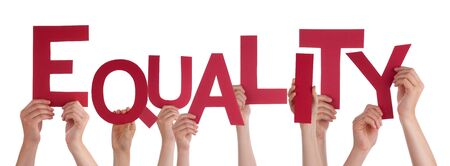 sex discrimination: Many Caucasian People And Hands Holding Red Letters Or Characters Building The Isolated English Word Equality On White Background Stock Photo