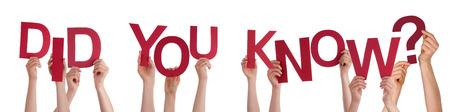 Viele Menschen Caucasian And Hands Holding Red Buchstaben oder Zeichen Building Der Isolated English Word Wussten Sie, auf weißem Hintergrund Standard-Bild - 37498529
