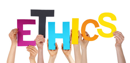 ethics: Many Caucasian People And Hands Holding Colorful Letters Or Characters Building The Isolated English Word Ethics On White Background Stock Photo