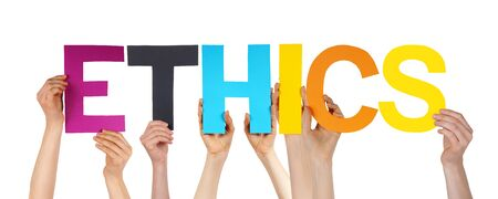 normative: Many Caucasian People And Hands Holding Colorful Straight Letters Or Characters Building The Isolated English Word Ethics On White Background