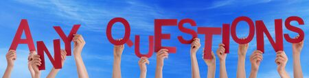 questions and answers: Many Caucasian People And Hands Holding Red Letters Or Characters Building The English Word Any Questions On Blue Sky