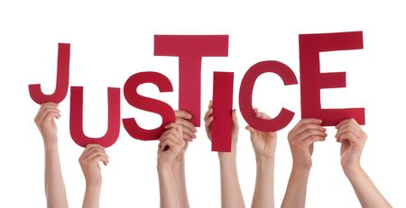 fair trial: Many Caucasian People And Hands Holding Red Letters Or Characters Building The Isolated English Word Justice On White Background