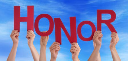 Many Caucasian People And Hands Holding Red Letters Or Characters Building The English Word Honor On Blue Sky Stock Photo