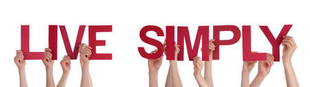 simply: Many Caucasian People And Hands Holding Red Straight Letters Or Characters Building The Isolated English Word Live Simply On White Background