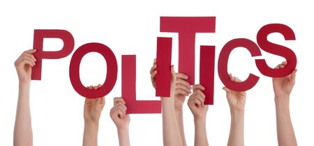 Many Caucasian People And Hands Holding Red Letters Or Characters Building The Isolated English Word Politics On White Background