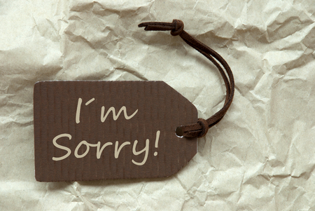 i am sorry: One Brown Label Or Tag With Brown Ribbon On Crumpled Paper Background With English Text I Am Sorry Vintage Or Retro Style