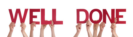 Many Caucasian People And Hands Holding Red Straight Letters Or Characters Building The Isolated English Word Well Done On White Background Standard-Bild