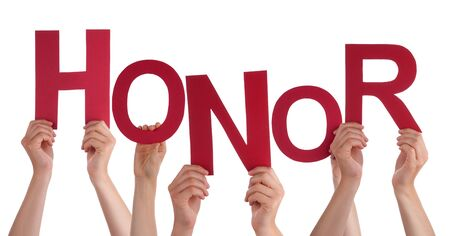 community recognition: Many Caucasian People And Hands Holding Red Letters Or Characters Building The Isolated English Word Honor On White Background Stock Photo