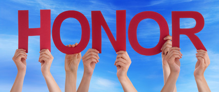 Many Caucasian People And Hands Holding Red Straight Letters Or Characters Building The English Word Honor On Blue Sky