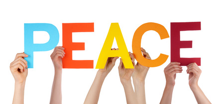 Many Caucasian People And Hands Holding Colorful Straight Letters Or Characters Building The Isolated English Word Peace On White Background Standard-Bild