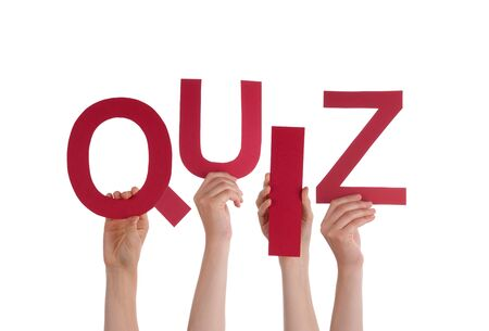 Many Caucasian People And Hands Holding Red Letters Or Characters Building The Isolated English Word Quiz On White Background
