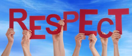 deference: Many Caucasian People And Hands Holding Red Letters Or Characters Building The English Word Respect On Blue Sky Stock Photo