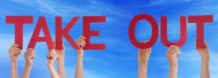 take out: Many Caucasian People And Hands Holding Red Straight Letters Or Characters Building The English Word Take Out On Blue Sky Stock Photo