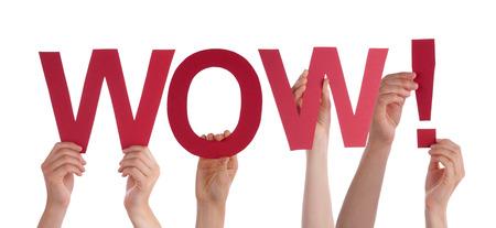wow: Muchas personas de raza blanca y manos que sostienen Rojos Lacio letras o caracteres construcción de la aislada Inglés de Word Wow En El Fondo Blanco