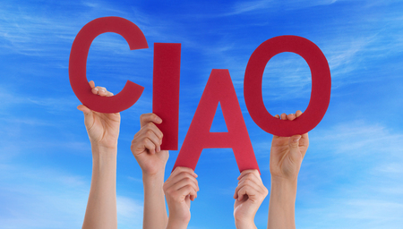 ciao: Many Caucasian People And Hands Holding Red Letters Or Characters Building The Italian Word Ciao Means Goodbye On Blue Sky