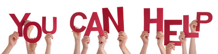 Many Caucasian People And Hands Holding Red Letters Or Characters Building The Isolated English Word You Can Help On White Background photo