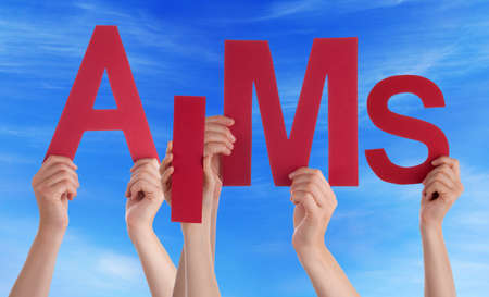 aims: Many Caucasian People And Hands Holding Red Letters Or Characters Building The English Word Aims On Blue Sky Stock Photo