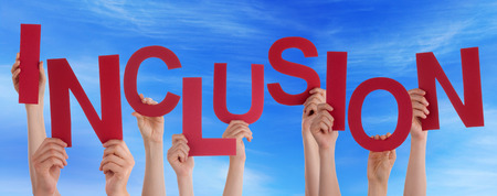 Many Caucasian People And Hands Holding Red Letters Or Characters Building The English Word Inclusion On Blue Sky