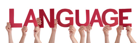 lingo: Many Caucasian People And Hands Holding Red Straight Letters Or Characters Building The Isolated English Word Language On White Background