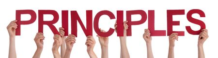 principles: Many Caucasian People And Hands Holding Red Straight Letters Or Characters Building The Isolated English Word Principles On White Background Stock Photo
