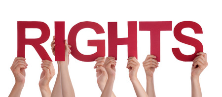 Many Caucasian People And Hands Holding Red Straight Letters Or Characters Building The Isolated English Word Rights On White Background photo