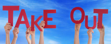 take out: Many Caucasian People And Hands Holding Red Letters Or Characters Building The English Word Take Out On Blue Sky Stock Photo