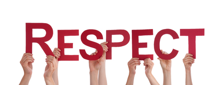 deference: Many Caucasian People And Hands Holding Red Straight Letters Or Characters Building The Isolated English Word Respect On White Background