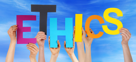 ethos: Many Caucasian People And Hands Holding Colorful Letters Or Characters Building The English Word Ethics On Blue Sky