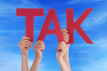many thanks: Many Caucasian People And Hands Holding Red Straight Letters Or Characters Building The Danish Word Tak Which Means Thanks On Blue Sky