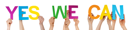 we the people: Many Caucasian People And Hands Holding Colorful Straight Letters Or Characters Building The Isolated English Word Yes We Can On White Background