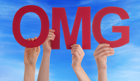gosh: Many Caucasian People And Hands Holding Red Straight Letters Or Characters Building The English Word OMG On Blue Sky Stock Photo
