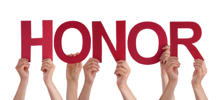 community recognition: Many Caucasian People And Hands Holding Red Straight Letters Or Characters Building The Isolated English Word Honor On White Background Stock Photo