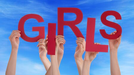 group of hands: Many Caucasian People And Hands Holding Red Letters Or Characters Building The English Word Girls On Blue Sky